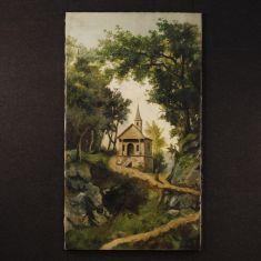 Quadro olio su tela in stile romantico epoca 800