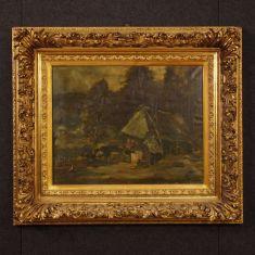 Quadro olio su tela con cornice dorata epoca 900