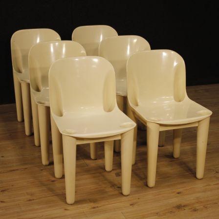 6 sedie italiane di design in plastica
