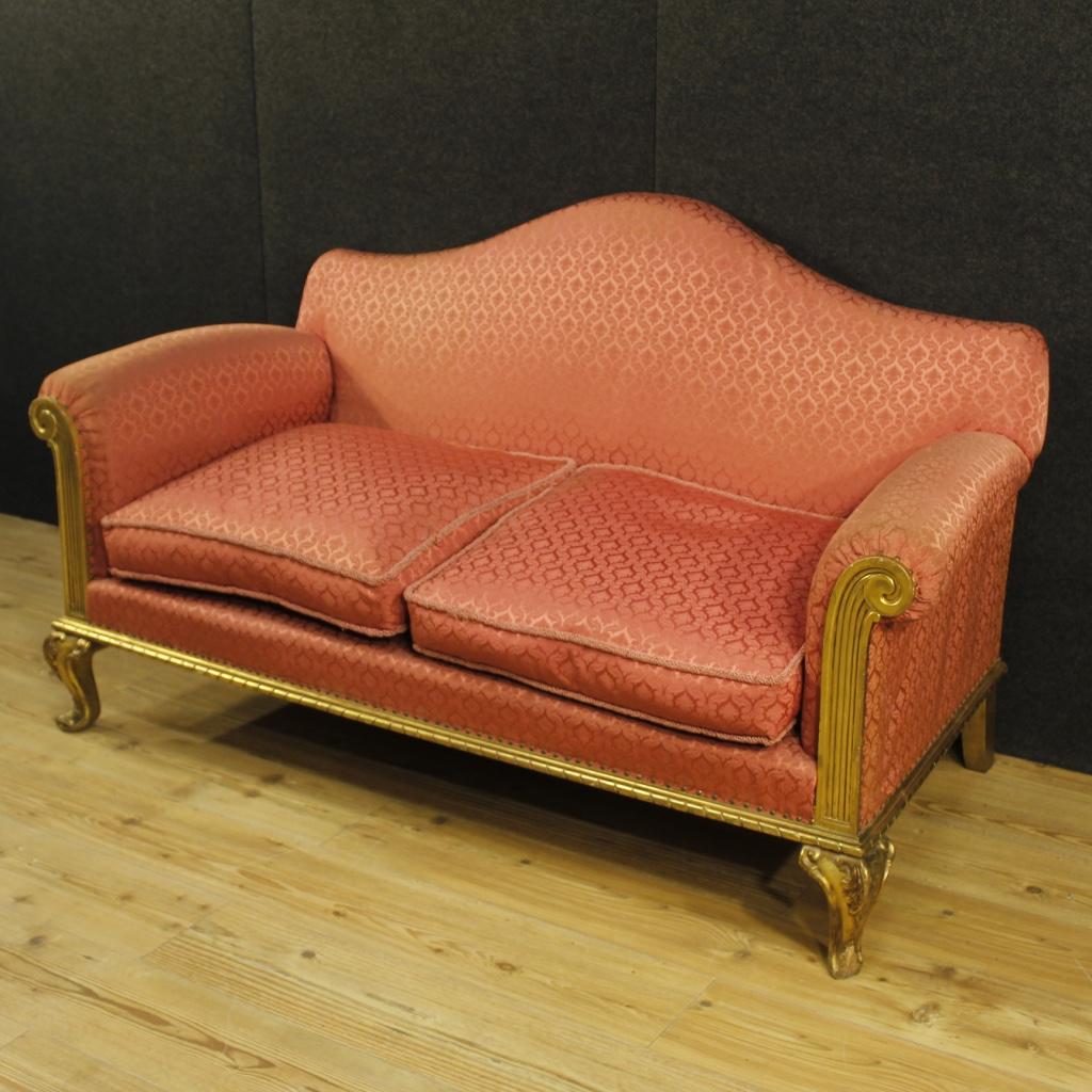 Divano dorato mobile salotto in legno stile antico - Divano in spagnolo ...