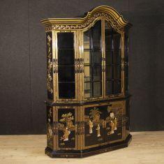 Mobile libreria in legno doppio corpo stile antico 900