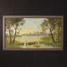 Quadro olio su tela su tavoletta con cornice epoca 900