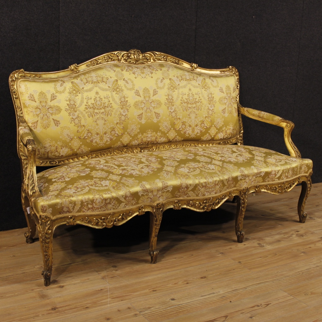 antique golden sofa in louis xv style of the 19th century. Black Bedroom Furniture Sets. Home Design Ideas
