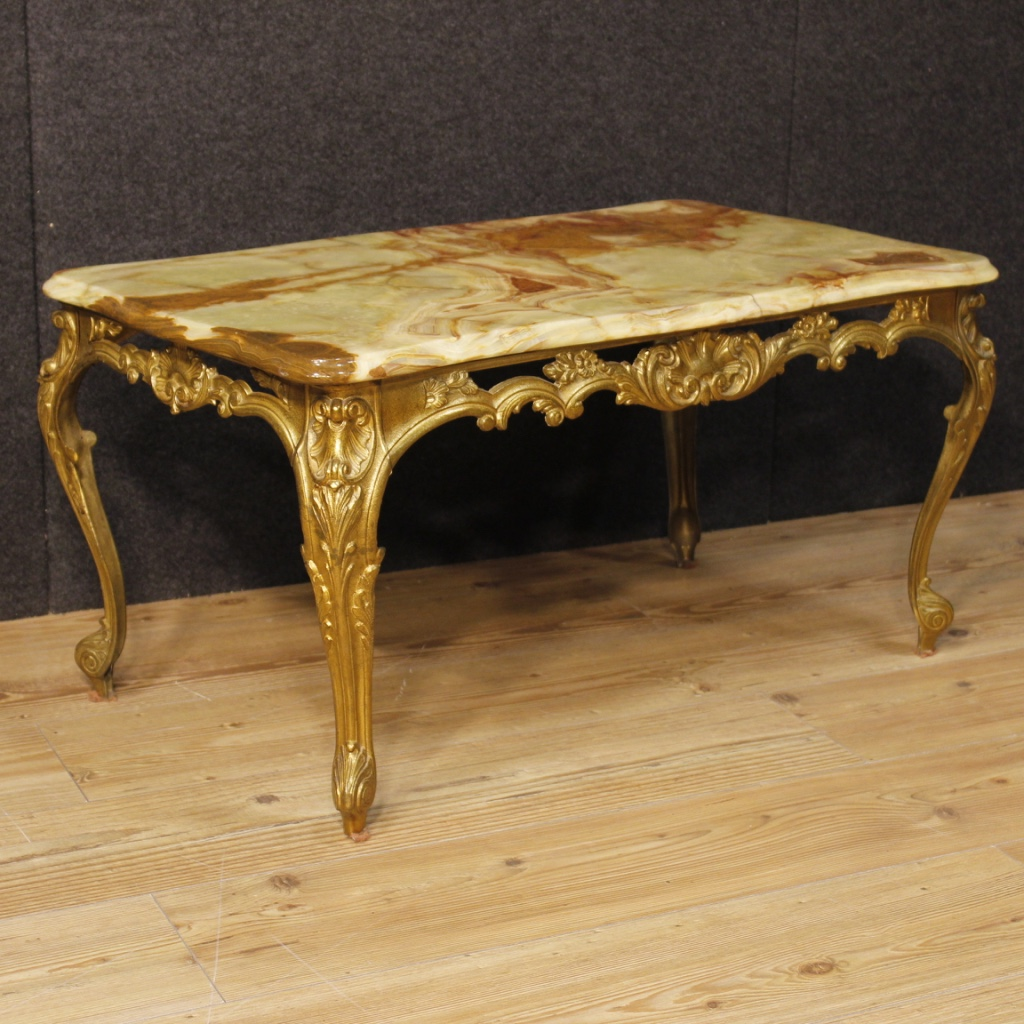 Italian Coffee Table In Gold Metal With Onyx Top