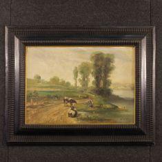 Quadro olio su tela su cartoncino con cornice epoca 900