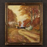 French bucolic landscape painting oil on canvas