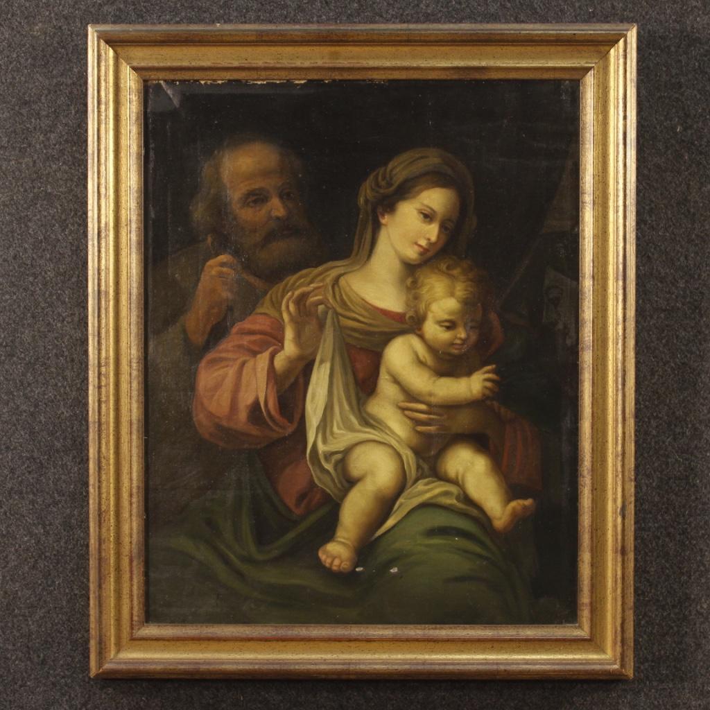 Italian Religious Painting Depicting Holy Family