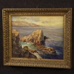 Italian painting seascape with cliff oil on canvas