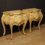 Pair of Venetian bedside tables in golden and painted wood