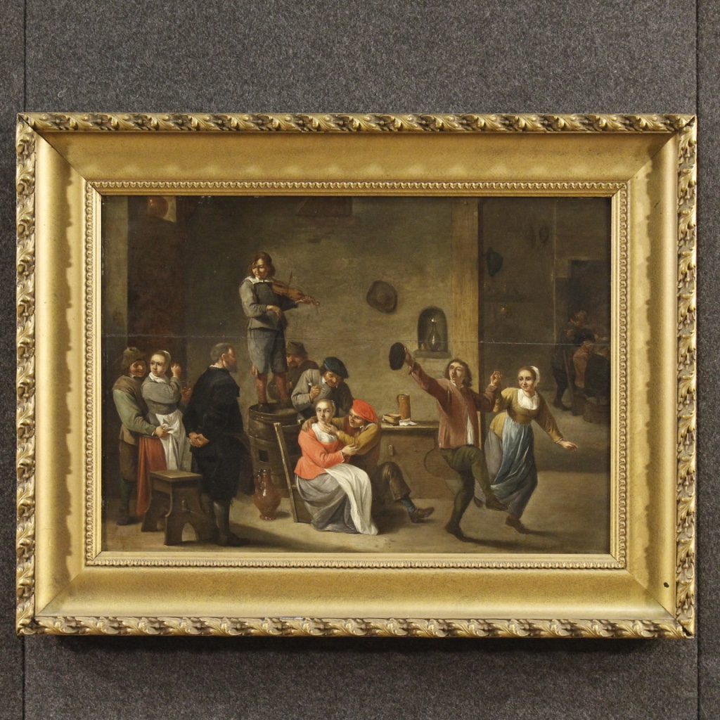 Antique Dutch Interior Scene Painting 19th Century