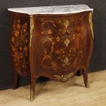 French inlaid dresser with marble top in Louis XV style
