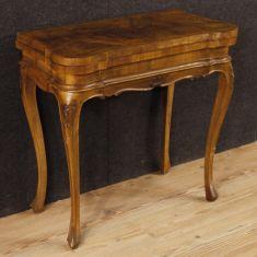 Mobile tavolo da salotto noce, radica di noce, acero e bois de rose