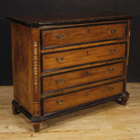 Antique Lombard Chest Of Drawers In Wood From 18th Century