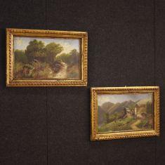 Quadri olio su cartoncino con cornice dorata stile antico impressionista 900