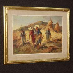 Quadro olio su tavoletta con cornice dorata epoca 900
