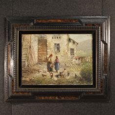 Quadro olio su tela con cornice firmato in alto a destra epoca 900