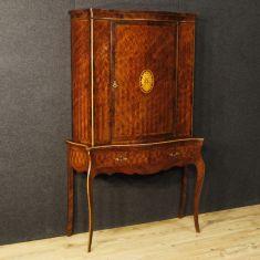 Mobile in bois de rose, palissandro e acero a una porta e due cassetti epoca 900