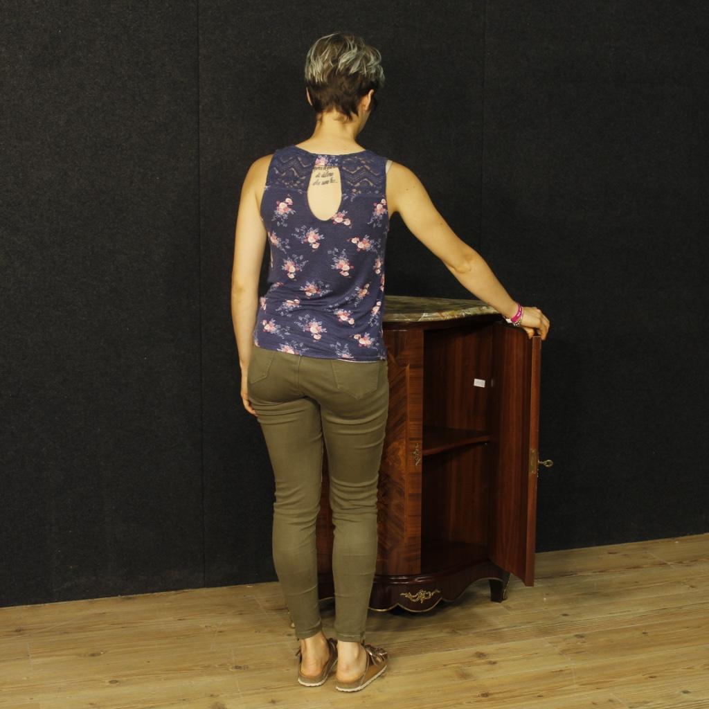 Angoliera francese intarsiata con piano in marmo - Immagine 1