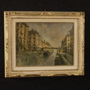 "Italian painting view of Milan ""Navigli"""