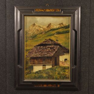French mountain landscape with chalet painting