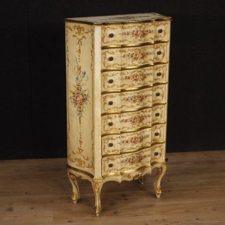low priced 5df4b e7ce0 Venetian lacquered, gilded and painted tallboy