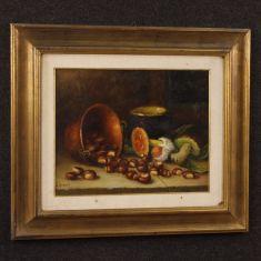 Quadro olio su masonite con cornice dorata epoca 900