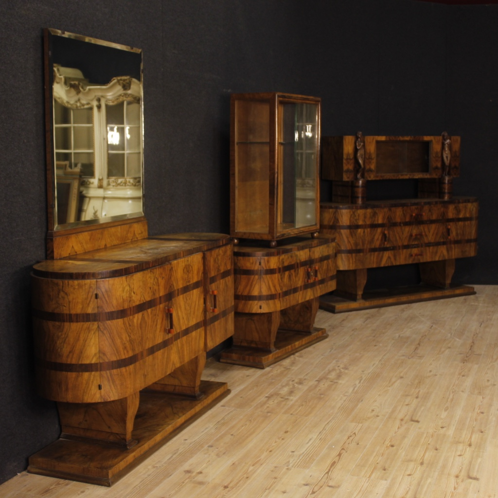 geschirrschrank antik stil vintage art deco m bel spiegel italienisch holz ebay. Black Bedroom Furniture Sets. Home Design Ideas