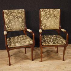 Mobili sedie in legno di ciliegio e tessuto stile antico 900