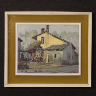 Italian popular scene painting oil on board