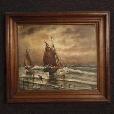 Quadro olio su tela con cornice in legno epoca 800