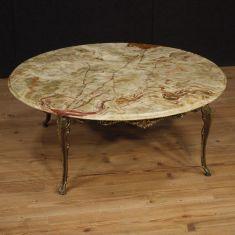 Tavolo basso salotto in onice dorato stile antico 900