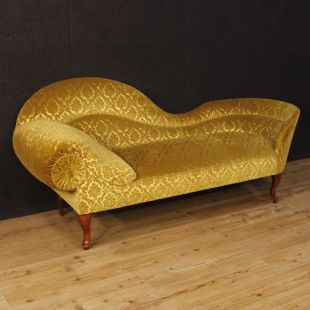 Chaise longue francese in velluto damascato