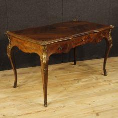 Mobile scrivania tavolo in bois de rose e palissandro con bronzi dorati