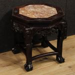 Chinese wooden side table with marble top