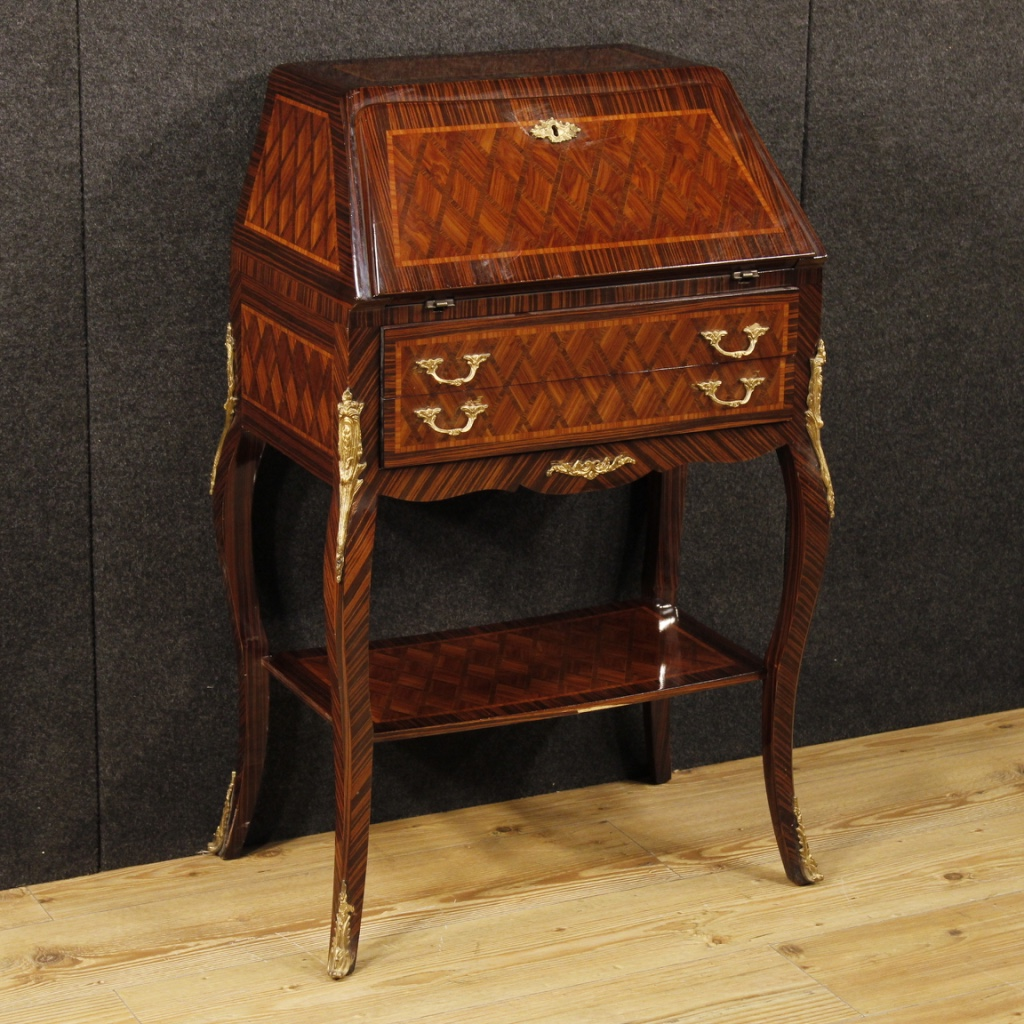 French inlaid bureau decorated with bronzes for Bureau french