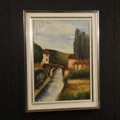 Quadro con cornice in stile impressionista epoca 900