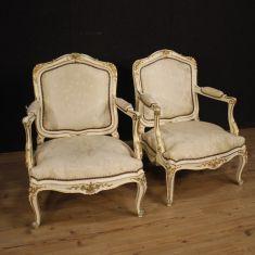 Sedie mobili in legno e tessuto stile antico salotto 900