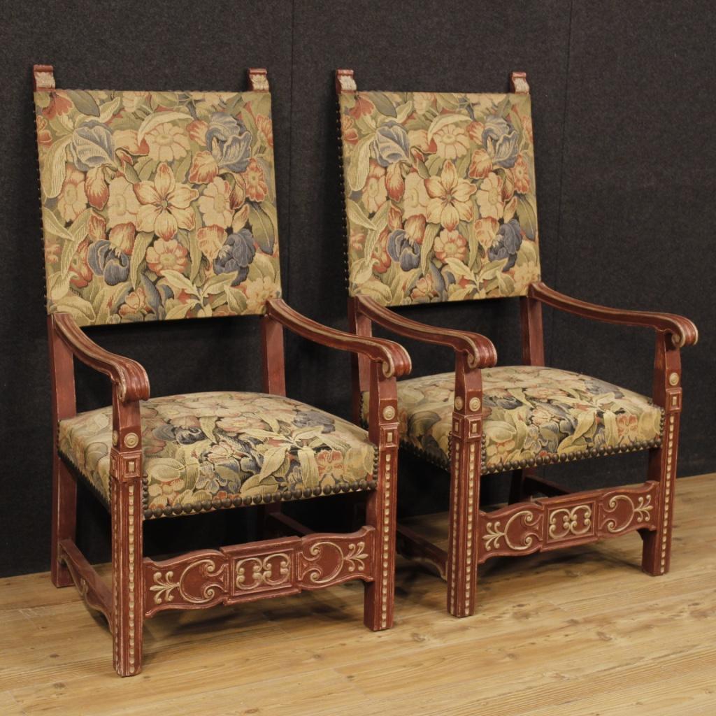 Poltrone sedie coppia mobili sedute francesi legno dipinto for Poltrone sedie