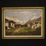 Italian signed mountain landscape painting
