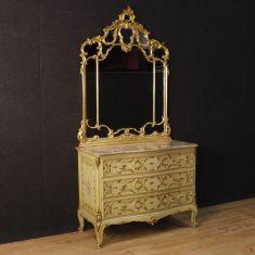 Cassettone con piano in marmo specchio laccato e dorato epoca 900