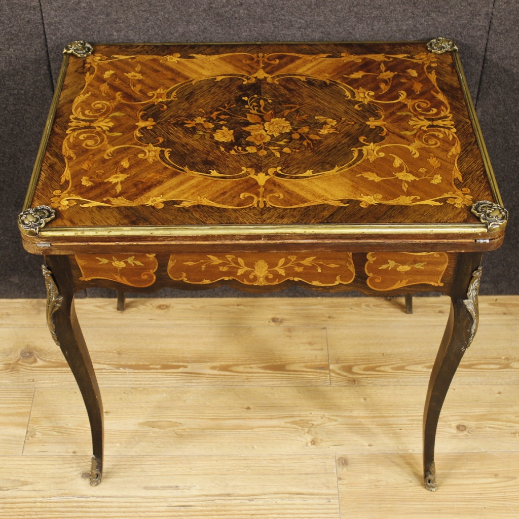 Inlaid Game Table Wood Furniture Living Room Writing Desk