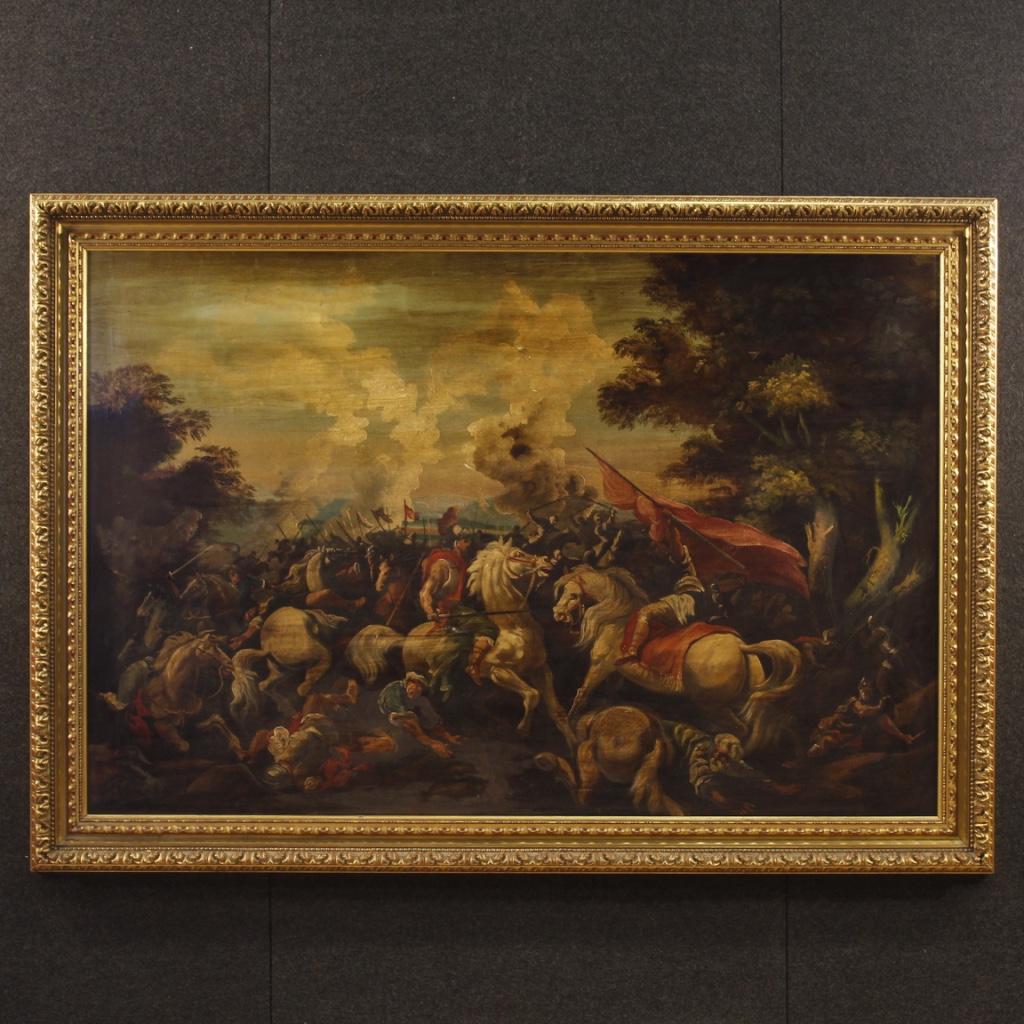 Dipinto italiano olio su tela raffigurante battaglia