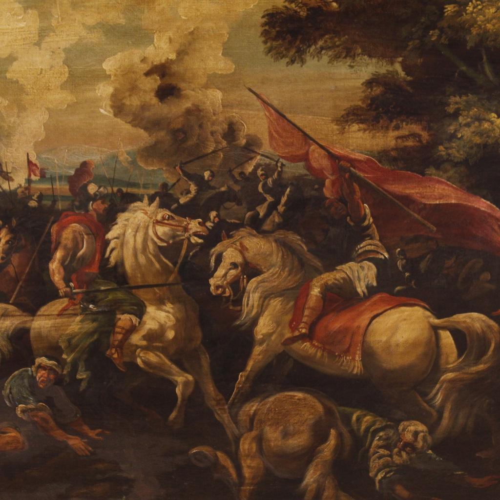 Dipinto italiano olio su tela raffigurante battaglia - Immagine 2