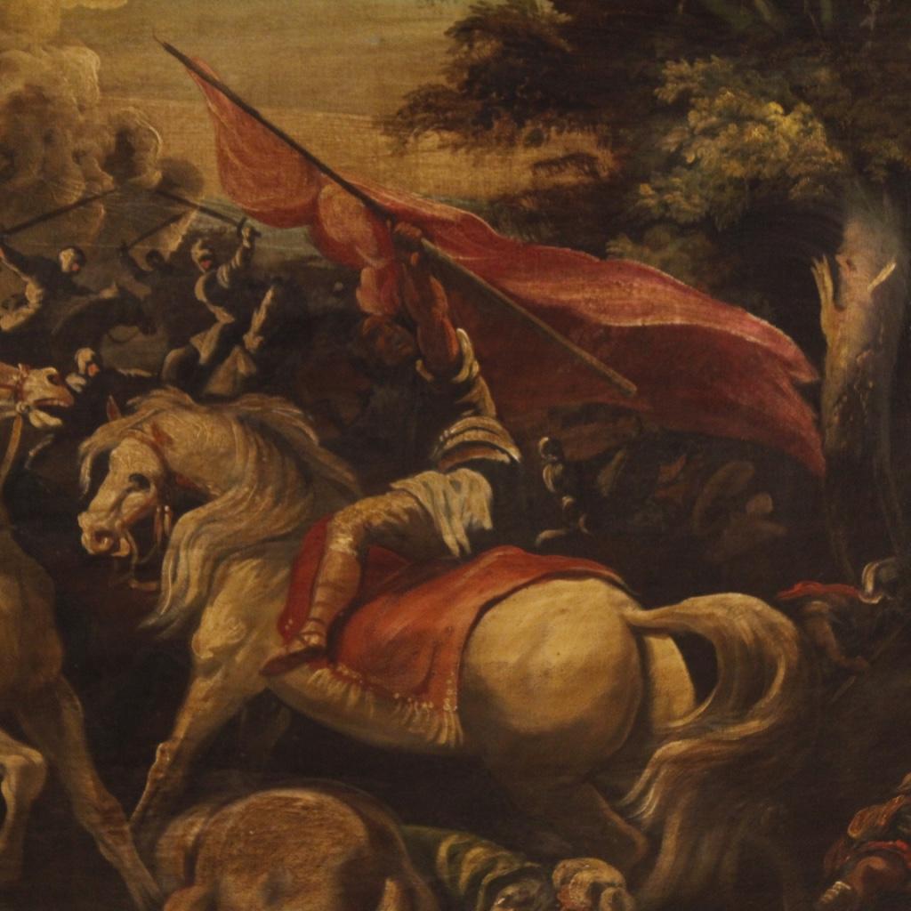 Dipinto italiano olio su tela raffigurante battaglia - Immagine 3