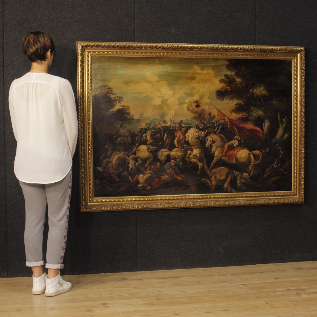 Dipinto italiano olio su tela raffigurante battaglia - Immagine 1