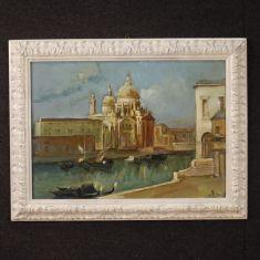 Quadro olio su tela con cornice stile antico paesaggio 900