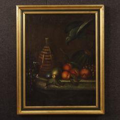 Quadro olio su tela con cornice laccata e dorata epoca 800