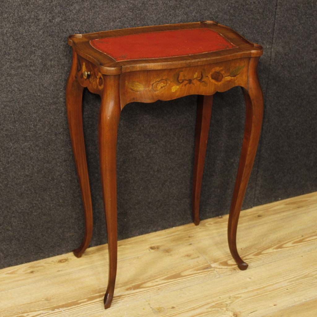 French Inlaid Side Table With Two Drawers