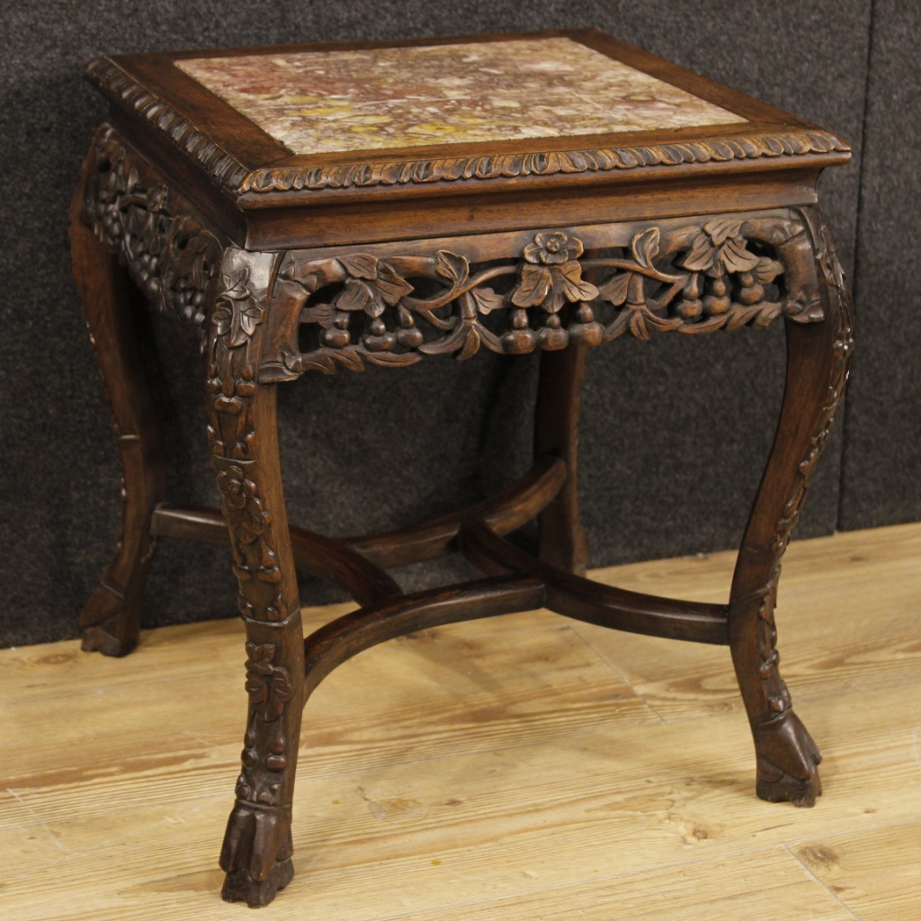 Chinese side table in wood with marble top for Table basse marbre