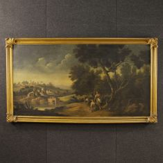 Quadro italiano olio su tela con cornice dorata epoca 900